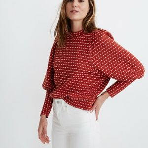 NWT Madewell Puff Sleeve Top in Bow Tie Jacquard M